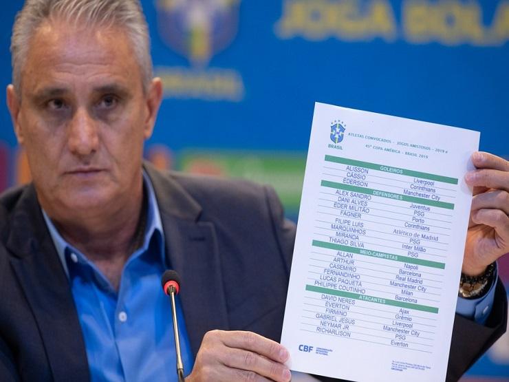 Tite convoca seleção brasileira para a Copa América 2019