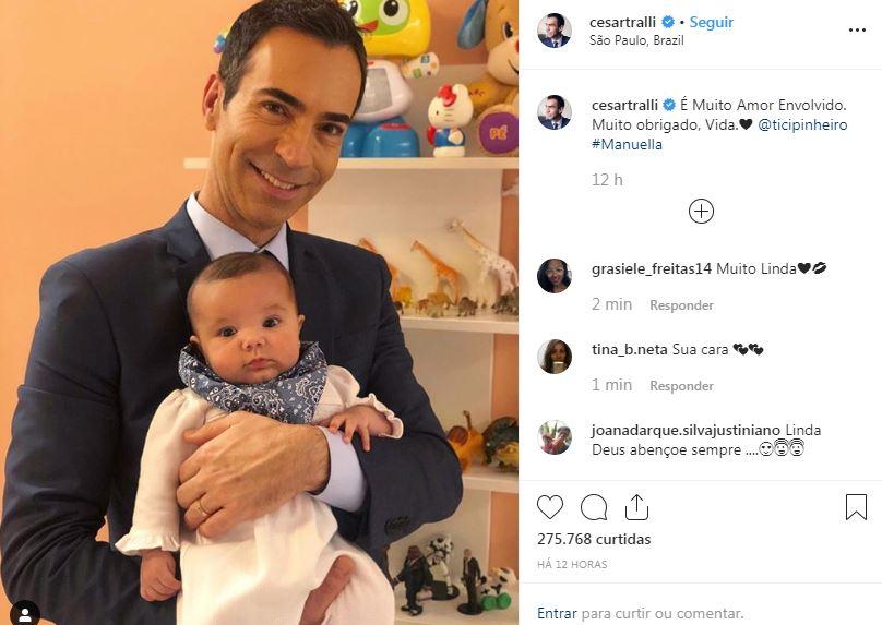 César Tralli compartilha foto com a filha no colo e beleza da pequena impressiona