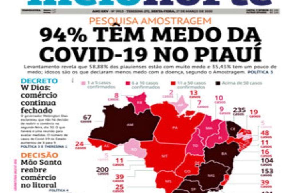 Pesquisa Meio Norte/Amostragem: 94% dos piauienses têm medo do surto do coronavírus