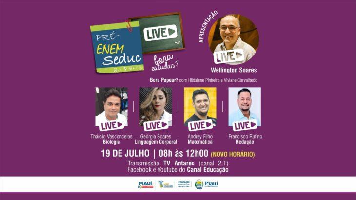Seduc realiza 13ª revisão Pré-Enem Live neste domingo (19)