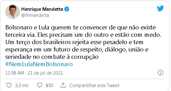 Mandetta critica Bolsonaro e Lula por falas sobre 3ª via: 'Estão com medo'
